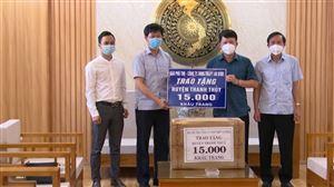 Báo Phú Thọ phối hợp trao tặng 15.000 khẩu trang y tế cho huyện Thanh Thuỷ