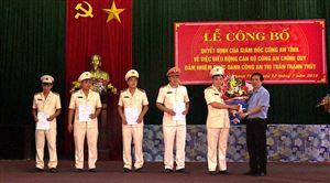 Công bố Quyết định điều động công an chính quy đảm nhiệm các chức danh Công an xã Hoàng Xá và thị trấn Thanh Thủy