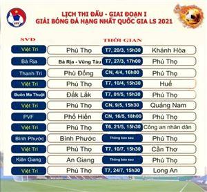 Lịch thi đấu Giải Bóng đá Hạng Nhất Quốc gia LS 2021