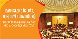Các Luật, Nghị quyết được thông qua tại kỳ họp thứ 6, Quốc hội khóa XIV